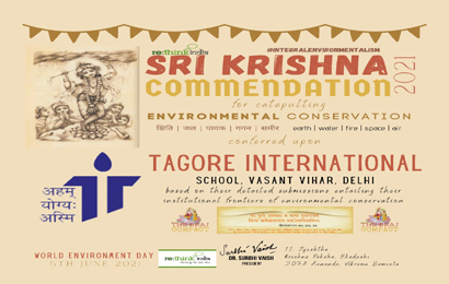 School conferred upon with Sri Krishna Commendation award by ReTHINK INDIA