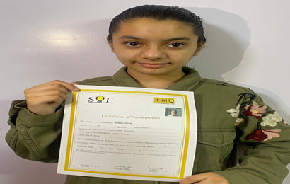Zarah Gupta of class V  bagged International Rank 1 with 100% score in Math Olympiad