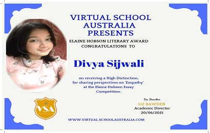 Divya Sijwali bagged Elaine Hobson Literary Certificate by Virtual School Australia  for her essay