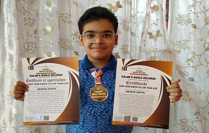Art work by Advaye Gupta of class VII got recognition in a virtual  event conducted by Kalam's World Records
