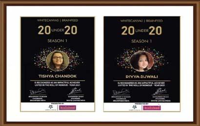 Divya Sijwali & Tishya Chandok featured in Brainfeed magazine for winning 'India's Top 20 Under 20'